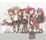 1boy 6+girls ^_^ ^o^ animal_ears black_legwear breasts brown_eyes brown_hair character_request closed_eyes facing_another fox_ears glasses japanese_clothes kemurikusa kneehighs kolshica large_breasts long_hair looking_at_another looking_to_the_side miko multiple_girls pantyhose purple_hair short_hair sitting