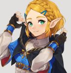 1girl bangs blonde_hair braid cape crown_braid fingerless_gloves gloves hair_ornament hairclip highres hood kamu_(kamuuei) looking_at_viewer parted_bangs pointy_ears princess_zelda short_hair simple_background smile solo the_legend_of_zelda the_legend_of_zelda:_breath_of_the_wild the_legend_of_zelda:_breath_of_the_wild_2 thick_eyebrows upper_body