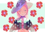 1girl animated animated_gif aqua_eyes blue_flower blush earrings flower hands_together hat jewelry long_hair long_sleeves looking_at_viewer original red_flower red_ribbon ribbon satomatoma smile solo upper_body white_flower witch_hat