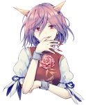1girl arm_ribbon bangs black_ribbon breasts chain cropped_torso cuffs eyebrows_visible_through_hair eyelashes eyes_visible_through_hair fingernails flower hair_between_eyes hand_up horns ibaraki_douji's_arm looking_at_viewer medium_breasts nail_polish pink_eyes pink_flower pink_hair pink_rose puffy_short_sleeves puffy_sleeves red_nails ribbon rose shackles sharp_fingernails shirt short_hair short_sleeves simple_background smile solo spoilers tabard touhou upper_body uranaishi_(miraura) white_background white_shirt
