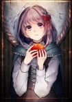 1girl absurdres apple aqua_capelet black_choker black_dress bow braid cape choker cracked dress food fruit hair_bow highres holding holding_food holding_fruit long_sleeves looking_at_viewer medium_hair mirror red_bow rubianeko snow_white snow_white_(grimm) solo standing violet_eyes