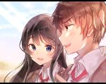 1boy 1girl :d azusagawa_sakuta bangs black_hair blazer blue_sky blurry blurry_background blurry_foreground blush brown_eyes brown_hair brown_jacket collared_shirt day depth_of_field eyebrows_visible_through_hair gyozanuko hair_between_eyes hair_ornament hairclip highres jacket letterboxed long_hair open_blazer open_clothes open_jacket open_mouth outdoors profile red_neckwear sakurajima_mai school_uniform seishun_buta_yarou shirt sky smile upper_body upper_teeth v-shaped_eyebrows violet_eyes white_shirt