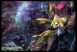 forest jirachi karamimame nature night night_sky no_humans outdoors pokemon scenery sky star_(sky) starry_sky