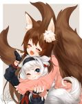 2017 2girls animal_ear_fluff animal_ears blade_&_soul blue_eyes blush brown_hair commission fox_ears fox_girl fox_tail gloves headband hug hug_from_behind long_hair lyn_(blade_&_soul) multiple_girls multiple_tails pink_cardigan plushmallow plushmallow_(lyn) ribbon signature silver_hair struggling tail