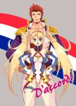 1boy 1girl bangs bare_shoulders beard blonde_hair blue_eyes blush bradamante_(fate/grand_order) braid breasts chest facial_hair fate/grand_order fate_(series) french_flag gloves hair_between_eyes hair_ornament hands_on_hips long_hair long_sleeves looking_at_viewer napoleon_bonaparte_(fate/grand_order) open_mouth pants rondo_(poccal) smile thighs twintails very_long_hair