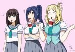 3girls ascii_media_works black_hair blonde_hair blue_hair breast_envy breast_hold breasts bubble_tea_challenge bushiroad closed_eyes dated drink english_commentary hair_rings highres hime_cut jan_azure kurosawa_dia large_breast love_live! love_live!_sunshine!! matsuura_kanan medium_breast multiple_girls ohara_mari ponytail school_uniform short_breast sunrise_(studio) tokyo_mx twitter_username uranohoshi_school_uniform vest