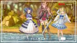 3girls :d absurdres angel_wings animal_ear_fluff animal_ears arm_up arms_under_breasts barefoot belt black_hair blonde_hair blue_bow blue_eyes blue_ribbon blush boots bow breasts brown_hair chinese_commentary collarbone commentary_request day dress feathered_wings firo_(tate_no_yuusha_no_nariagari) frilled_sleeves frills full_body gloves grass hair_ornament hair_ribbon hairclip hand_on_hip high_collar highres juliet_sleeves konishi_(565112307) long_hair long_sleeves looking_at_viewer melty_q_melromarc multiple_girls nature open_mouth outdoors pink_eyes puffy_sleeves raccoon_ears raccoon_girl raccoon_tail raphtalia recording red_eyes ribbon rock sidelocks signature smile sword tail tate_no_yuusha_no_nariagari thigh-highs thigh_boots tree twintails very_long_hair viewfinder wading water weapon white_dress white_wings wings