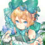 1girl aqua_bow aqua_neckwear bare_shoulders beads blonde_hair bow bowtie bracelet braid collarbone commentary english_commentary flower gold hair_bow hair_ornament hair_ribbon highres holding holding_ribbon hydrangea jewelry kagamine_rin large_bow leaf oyamada_gamata ribbon short_hair shoulder_ribbon shoulder_tattoo sidelocks solo tattoo vocaloid water_drop white_background wristband
