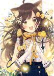 1girl :d absurdres ahoge animal animal_ear_fluff animal_ears animal_on_shoulder bangs bird blue_skirt blush bow braid brown_eyes brown_hair cat_ears chick commentary_request elbow_gloves eyebrows_visible_through_hair flower gloves hair_bow hair_flower hair_ornament hands_together hands_up highres long_hair looking_at_viewer open_mouth original own_hands_together petals polka_dot_skirt revision ribbon-trimmed_gloves ribbon_trim rose sakura_oriko shirt single_braid skirt sleeveless sleeveless_shirt smile solo upper_body very_long_hair white_flower white_gloves white_shirt yellow_bow yellow_flower yellow_rose