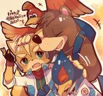 1girl 3boys animal animal_ears backpack bag banjo-kazooie banjo_(banjo-kazooie) banjo_to_kazooie_no_daibouken bear bird blue_eyes blush brown_hair closed_eyes company_connection crossover falco_lombardi feathers fox fox_mccloud furry gloves green_eyes hawk highres hug kazooie_(banjo-kazooie) looking_at_viewer male_focus microsoft multiple_boys nintendo no_humans open_mouth rareware rushin short_hair simple_background smile specie_connection star_fox star_fox_adventures super_smash_bros. super_smash_bros._ultimate super_smash_bros_melee wings