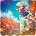 1girl 2others autumn bird blue_shorts bow brown_hair creatures_(company) day dinosaur from_below game_freak gen_2_pokemon hat hat_bow highres ho-oh human kotone_(pokemon) leaf_(specie) legendary_pokemon long_hair looking_up mu_acrt nintendo olm_digital outdoors pokemon pokemon_(anime) pokemon_(creature) pokemon_(game) pokemon_hgss rainbow_(specie) red_bow red_shirt shirt short_shorts shorts suspender_shorts suspenders thigh-highs twintails white_headwear zettai_ryouiki