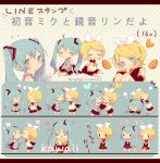 2girls @_@ aqua_eyes aqua_hair bare_shoulders blonde_hair blue_eyes blush bow character_sheet cheek-to-cheek chibi coco_(hinatacoco) commentary detached_sleeves food fruit hair_bow hair_ornament hairclip hands_on_own_cheeks hands_on_own_face hatsune_miku heart highres holding holding_phone hug kagamine_rin light_smile long_hair looking_at_viewer multiple_girls necktie orange phone polka_dot polka_dot_background shirt short_hair sleeveless sleeveless_shirt translated twintails very_long_hair vocaloid white_bow