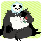 baby_bottle black_cape black_eyes blush blush_stickers bonnet border bottle cape claws closed_mouth flabebe floating flower full_body furry gen_6_pokemon green_background grey_outline hand_up hands_up happy holding indian_style looking_at_another looking_up minashirazu mouth_hold no_humans open_mouth outline pangoro pokemon pokemon_(creature) red_flower simple_background sitting size_difference smile striped striped_background sweat twig white_border