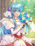 1girl 2900cm aqua_hair artist_name blue_eyes bouquet bride dress eirika fire_emblem fire_emblem:_seima_no_kouseki fire_emblem_heroes flower hair_flower hair_ornament holding holding_bouquet intelligent_systems long_hair nintendo open_mouth petals solo upper_body wedding_dress white_dress