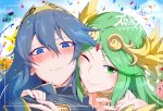 2boys 2others 3girls animal arwing blue_eyes blue_hair blurry blurry_background blush cheek-to-cheek circlet copyright_name creatures_(company) dairantou!_smash_brothers_special dairantou!_smash_brothers_x fake_screencap female fingernails fire_emblem fire_emblem:_kakusei fire_emblem_heroes game_freak gen_1_pokemon girl goddess green_eyes green_hair hal_laboratory_inc. hoshi_no_kirby human inkling intelligent_systems kid_icarus kirby kirby_(series) long_hair lucina male mario_(series) mouse nintendo nintendo_ead one_eye_closed palutena palutena_no_kagami pikachu pikmin_(creature) pikmin_(series) pink_puff_ball piranha_plant pokemon pokemon_(anime) pokemon_(creature) pokemon_(game) princess smile sora_(company) splatoon_(series) star_fox super_mario_bros. super_smash_bros. tiara torichamaru yoshi's_island yoshi_egg you_gonna_get_raped yuri