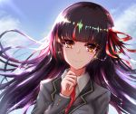 1girl bangs blazer blue_sky blunt_bangs blush brown_eyes closed_mouth clouds cloudy_sky collared_shirt commentary_request copyright_request day dutch_angle eyebrows_visible_through_hair grey_jacket habu_rin hair_ribbon hand_up highres jacket long_hair long_sleeves multicolored_hair necktie outdoors purple_hair red_neckwear red_ribbon redhead ribbon school_uniform shirt sky smile solo streaked_hair tears upper_body white_shirt