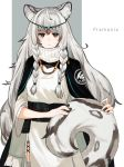 1girl 3o_c animal_ear_fluff animal_ears arknights bangs belt black_capelet braid capelet character_name closed_mouth dress grey_eyes grey_legwear highres jewelry leopard_ears leopard_tail long_hair long_sleeves looking_at_viewer necklace pramanix_(arknights) side_braids silver_hair simple_background solo standing tail turtleneck twin_braids very_long_hair white_background wide_sleeves