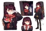 1girl absurdres alternate_costume bangs be_garam black_coat black_footwear black_legwear black_skirt black_vest blush boots breasts breathing brown_skirt coat crying crying_with_eyes_open eyebrows_visible_through_hair gift girls_frontline giving gloves hair_ornament hair_ribbon half-closed_eyes half_updo hand_in_pocket happy_tears high_heel_boots high_heels highres holding holding_gift large_breasts long_hair looking_at_viewer necktie one_eye_closed one_side_up open_clothes open_coat open_mouth pantyhose plaid plaid_skirt pleated_skirt purple_hair red_eyes red_neckwear red_scarf ribbon scarf shirt sidelocks simple_background skirt snowflake_hair_ornament snowflake_print tears twitter_username untucked_shirt very_long_hair vest wa2000_(girls_frontline) weapon_bag white_gloves