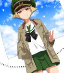 1girl black_bow black_neckwear blonde_hair blouse blue_sky bow bowtie broken_window brown_eyes brown_jacket clouds cloudy_sky commentary day dutch_angle erwin_(girls_und_panzer) girls_und_panzer glass goggles goggles_on_headwear green_headwear green_skirt grin half-closed_eyes hand_in_pocket hat jacket long_sleeves looking_at_viewer military_hat military_jacket miniskirt ooarai_school_uniform open_clothes open_jacket peaked_cap pleated_skirt pointy_hair school_uniform serafuku shadow shinaso_(sachi-machi) short_hair skirt sky smile solo standing v-shaped_eyebrows white_blouse