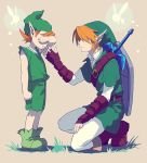 2boys arm_up artist_request bare_arms beige_background belt blonde_hair boots brown_belt brown_footwear clenched_hands crying earrings fairy full_body gauntlets green_footwear green_headwear green_shirt green_shorts green_tunic hand_up jewelry kneeling kokiri link male_focus master_sword mido_(ocarina_of_time) multiple_boys navi orange_hair pantyhose phrygian_cap pointy_ears shadow shield shirt shorts simple_background sleeveless sleeveless_shirt standing tears the_legend_of_zelda the_legend_of_zelda:_ocarina_of_time tunic weapon weapon_on_back white_legwear