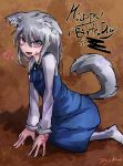 1girl :d animal_ear_fluff animal_ears artist_name bangs blue_dress burn_scar dog_ears dog_tail dorei_to_no_seikatsu_~teaching_feeling~ dress english_text extra_ears eyebrows_visible_through_hair eyes_visible_through_hair full_body grey_hair greyscale hair_between_eyes happy_birthday heart kemonomimi_mode long_hair long_sleeves looking_at_viewer monochrome open_mouth pinafore_dress ray-k scar shirt signature sitting smile solo sylvie_(dorei_to_no_seikatsu) tail white_legwear white_shirt