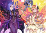 2girls armlet aunt_and_niece black_gloves blue_eyes blue_hair breasts breasts_apart cape caster circe_(fate/grand_order) circlet commentary_request dress fate/grand_order fate_(series) gloves head_wings holding holding_staff komainu_(yamaha1997) long_dress long_hair looking_at_viewer medium_breasts multiple_girls pink_hair pixiv_fate/grand_order_contest_2 pointy_ears purple_dress skirt sleeveless small_breasts smile staff violet_eyes white_skirt wings
