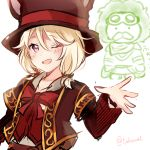 1girl ;d bangs blonde_hair blush bow brown_headwear brown_jacket collarbone copyright_request eyebrows_visible_through_hair fukunoki_tokuwa hair_between_eyes hand_up hat highres jacket long_sleeves one_eye_closed open_clothes open_jacket open_mouth red_bow red_vest simple_background sketch smile top_hat twitter_username upper_body vest violet_eyes white_background