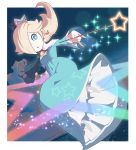 1girl blonde_hair blue_dress blue_eyes bright_pupils dress holding holding_wand long_sleeves mario_(series) omochi_(glassheart_0u0) rosalina solo star star_print super_mario_galaxy wand white_pupils