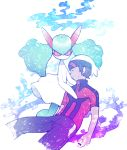 1boy 1girl bangs beanie black_pants brown_hair bruise closed_eyes gen_3_pokemon green_hair green_skin hair_between_eyes hat injury kirlia kneeling long_hair looking_at_viewer minashirazu no_mouth open_mouth pants pokemon pokemon_(creature) pokemon_(game) pokemon_oras pokemon_rse red_eyes red_sclera red_shirt shiny shiny_hair shirt short_hair short_sleeves slit_pupils two-tone_skin unconscious white_background white_headwear white_skin yuuki_(pokemon)