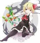 1girl arm_up black_legwear black_skirt black_vest blonde_hair blush chinese_lantern_(plant) clenched_hand cravat crossed_legs darkness expressionless facing_viewer grey_background hair_ribbon highres iyo_(ya_na_kanji) leaf leg_lift long_sleeves looking_away no_shoes open_mouth pantyhose petticoat plant red_eyes red_neckwear ribbon rumia shirt short_hair simple_background sitting skirt solo touhou two-tone_background vest white_background white_shirt