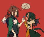 2girls bangs bare_shoulders black_hair black_shirt black_wings blue_eyes blush brown_hair brown_pants bukurote candy cape demon_girl demon_horns demon_tail demon_wings food fur-trimmed_gloves fur_trim gloves green_cape hair_between_eyes holding holding_food holding_lollipop horns lollipop long_hair multiple_girls original pants pointy_ears profile red_background shirt short_sleeves simple_background sleeveless tail translation_request trembling white_gloves wings yellow_gloves