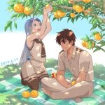 1boy 1girl admiral_(kantai_collection) bangs black_legwear black_neckwear black_sailor_collar blue_eyes blue_hair commentary_request dappled_sunlight dated day food fruit full_body gradient_hair indian_style kantai_collection long_hair military military_uniform multicolored_hair naval_uniform neckerchief orange outdoors sailor_collar samidare_(kantai_collection) school_uniform serafuku shirt sitting sleeveless sleeveless_shirt sunlight susamibukuro swept_bangs thigh-highs uniform very_long_hair