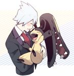 1boy arm_up ascot bangs black_jacket blue_hair blush carrying closed_eyes extra_mouth full_body hand_up jacket male_focus minashirazu open_mouth outstretched_arm pokemon pokemon_(creature) pokemon_(game) pokemon_oras red_neckwear sharp_teeth shiny shiny_hair shirt short_hair sideways_mouth simple_background smile striped striped_background teeth tongue tsuwabuki_daigo upper_body white_shirt