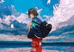 1girl backpack bag bangs black_backpack black_hair blue_sky clouds cloudy_sky flat_color from_behind harusameriburo knees_up ligne_claire long_sleeves looking_back original outdoors short_hair sitting sky solo
