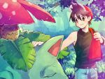 1boy black_eyes black_hair black_shirt blue_pants closed_eyes closed_mouth day forest gen_1_pokemon hat mu_acrt nature outdoors pants pokemon pokemon_(creature) pokemon_(game) pokemon_rgby red_(pokemon) red_headwear shirt sleeveless sleeveless_shirt venusaur