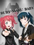 be_my_baby_(complex) blue_hair complex_(band) emblem english_text guitar highres instrument kurosawa_ruby love_live! love_live!_sunshine!! microphone one_eye_closed parody redhead side_bun tsushima_yoshiko twintails werpen