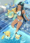 1girl 5others animal armlet baby_pokemon black_hair blue_hair character_print creatures_(company) dark_skin drednaw earrings game_freak gen_1_pokemon gen_2_pokemon gen_3_pokemon gen_4_pokemon gen_8_pokemon gloves gym_leader highres hoop_earrings innertube ippers jewelry lapras lizard mouse mud_fish mudkip multicolored_hair navel nintendo partially_submerged pichu pikachu pokemon pokemon_(creature) pokemon_(game) pokemon_swsh pool rurina_(pokemon) seafaring single_glove sitting soaking_feet sobble sports_bikini swimming swimsuit turtle water