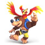 1boy 1girl 3d animal banjo-kazooie banjo_(banjo-kazooie) banjo_to_kazooie_no_daibouken bear bird blue_eyes furry green_eyes kazooie_(banjo-kazooie) microsoft nintendo no_humans official_art rareware super_smash_bros. super_smash_bros._ultimate white_background wings yellow_pants