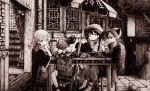 2boys 2girls absurdres closed_mouth couch eyebrows_visible_through_hair facing_away greyscale hat high_heels highres indoors looking_at_another monochrome multiple_boys multiple_girls original parted_lips scarf scenery short_hair sitting translation_request umbrella usio_ueda