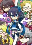 3girls alfred_(bloodstained) anne_(bloodstained) artist_request black_hair bloodstained:_ritual_of_the_night blue_eyes breasts brown_hair candle chibi detached_sleeves everyone flower flower_tattoo gauntlets glasses gradient_hair hair_between_eyes hair_ornament hair_over_one_eye horns johannes_(bloodstained) long_hair looking_at_viewer medium_breasts miriam_(bloodstained) moon multicolored_hair multiple_boys multiple_girls short_hair simple_background smile stained_glass tattoo zangetsu_(bloodstained)