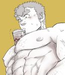 1boy abs bara black_hair blush body_hair bursting_pecs chest chest_hair cup drink drinking_glass drinking_straw facial_hair kengo_(tokyo_houkago_summoners) m_cwfe male_focus muscle nipples simple_background solo thick_eyebrows tokyo_houkago_summoners