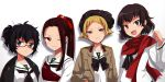 4girls :d :o ;) alternate_hairstyle alternate_headwear bangs beanie black_bow black_eyes black_hair black_headwear black_neckwear blonde_hair blouse bow bowtie brown_eyes brown_hair brown_jacket caesar_(girls_und_panzer) clenched_hand commentary_request erwin_(girls_und_panzer) girls_und_panzer glasses hair_ribbon half-closed_eyes hand_in_pocket haori hat head_tilt headband jacket japanese_clothes long_hair long_sleeves looking_at_viewer messy_hair military_jacket multiple_girls muneate neckerchief one_eye_closed ooarai_school_uniform open_clothes open_jacket open_mouth oryou_(girls_und_panzer) parted_lips pointy_hair red-framed_eyewear red_headband red_ribbon red_scarf ribbon saemonza scarf school_uniform semi-rimless_eyewear serafuku shadow shinaso_(sachi-machi) short_hair short_ponytail side-by-side simple_background smile under-rim_eyewear upper_body white_background white_blouse