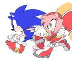1boy 1girl amy_rose aoi_(aoii91) blush dated dress english_commentary gloves green_eyes hairband hammer highres holding_hands red_dress red_footwear red_hairband running shoes signature sonic sonic_the_hedgehog white_background