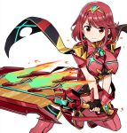 1girl armor armored_dress black_gloves boots breasts closed_mouth dress earrings eyebrows_visible_through_hair fingerless_gloves fire flame gloves highres holding holding_sword holding_weapon homura_(xenoblade_2) huge_weapon jewelry leg_up looking_at_viewer medium_breasts red_dress red_eyes red_legwear redhead shisoneri short_hair simple_background smile solo sparkle standing standing_on_one_leg star star_earrings sword thigh-highs thigh_boots tiara v-shaped_eyebrows weapon white_background xenoblade_(series) xenoblade_2