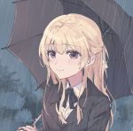 1girl bang_dream! bangs black_ribbon black_suit blonde_hair blue_background eyebrows_visible_through_hair hanazono_suki highres long_hair rain ribbon shirasagi_chisato umbrella violet_eyes