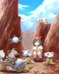 1girl black_hair closed_mouth clouds cubone full_body gen_1_pokemon gen_7_pokemon green_shorts hands_on_own_knees hat highres magnemite mizuki_(pokemon) mk_(mikka) outdoors poke_ball_print pokemon pokemon_(creature) pokemon_(game) pokemon_sm print_hat print_shirt red_headwear rockruff shirt short_hair short_shorts short_sleeves shorts smile squatting yellow_shirt