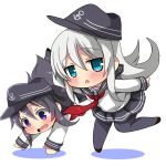 2girls akatsuki_(kantai_collection) anchor_symbol bangs black_hair black_headwear black_legwear black_sailor_collar black_skirt blue_eyes blush brown_footwear chibi colored_shadow eyebrows_visible_through_hair flat_cap grey_hair hair_between_eyes hat hibiki_(kantai_collection) kantai_collection long_hair long_sleeves multiple_girls neckerchief open_mouth oshiruko_(uminekotei) outstretched_arms pantyhose parted_lips pleated_skirt red_neckwear sailor_collar school_uniform serafuku shadow shirt shoes skirt sleeves_past_wrists standing standing_on_one_leg very_long_hair violet_eyes wavy_mouth white_shirt