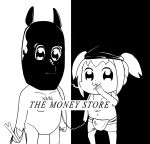 2girls :3 album_cover bag bkub_(style) cover death_grips greyscale leash looking_at_viewer midriff monochrome multiple_girls navel parody pekorino pipimi poptepipic popuko shirtless shopping_bag spring_onion the_money_store twintails