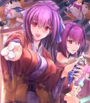 3girls :d alternate_costume alternate_hairstyle breasts character_request commentary_request fate/grand_order fate_(series) food food_on_face hair_ribbon ice_cream ice_cream_cone ice_cream_on_face japanese_clothes kimono large_breasts looking_at_viewer multiple_girls offering open_mouth pakupaku_choppu pink_hair popsicle purple_hair purple_kimono red_eyes ribbon scathach_(fate)_(all) scathach_(fate/grand_order) scathach_skadi_(fate/grand_order) smile