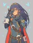 1girl armor blue_eyes blue_hair cape falchion_(fire_emblem) fingerless_gloves fire_emblem fire_emblem:_kakusei fire_emblem_heroes gloves highres intelligent_systems jivke lips long_hair looking_at_viewer lucina marth_(fire_emblem:_kakusei) mask nintendo open_mouth simple_background smile solo super_smash_bros. super_smash_bros._ultimate super_smash_bros_brawl tiara weapon